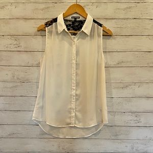 Express White Sheer with Black Lace Sleeveless Top